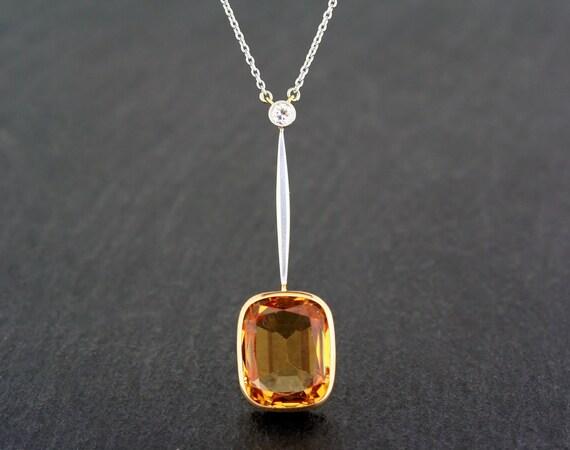 Antique topaz necklace edwardian 15ct gold platinum golden antique topaz necklace edwardian 15ct gold platinum golden topaz and diamond antique pendant necklace aloadofball Images