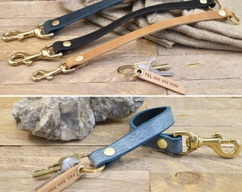 Leather lanyard, Simple keychain, FREE name plate, Gold key fob, Key holder, Key strap, Leather ID lanyard, Gift.
