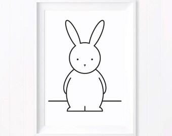 Olivia Monochrome Rabbit. Monochrome Print. Rabbit Print. Monochrome Nursery. Black and White Art. Nursery Art. Monochrome Baby Gift. Bunny.