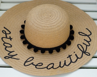 Personalized custom sun floppy straw beach hat pom hand-painted Mrs. wedding honeymoon bachelorette party