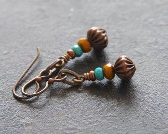 Czech Glass Earrings, Yellow and Turquoise Earrings, Rustic Dangle Earrings, Stacked Bead Earrings