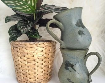 Pair of Hand Thrown Speckled Stoneware Coffee Mugs // Set of 2 Blue Ceramic Tea Cups