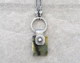 jade necklace, oxidized silver jewelry, boho stone pendant, yellow jade, metalwork jewelry