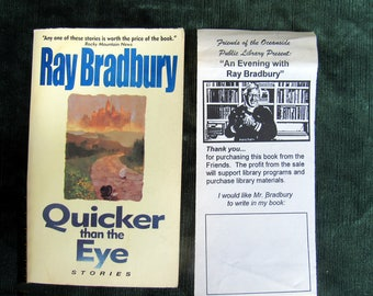 Signed Ray Bradbury Quicker than the Eye 1997 paperback