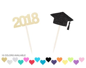 Graduation Cupcake Toppers - ANY COLOR - Glitter- Class of 2017 Graduation Party - Cap - 2018