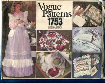 1970's Vogue 1753 Cottage Chic Ruffled Pinafore & Accessories Pattern