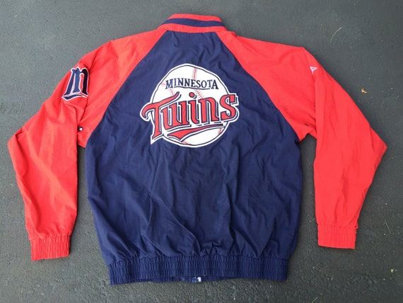 Vintage Apex One Minnesota Twins MLB Blue & Red Baseball Men's Jacket Coat Size Large Made in Hong Kong 3sJCD