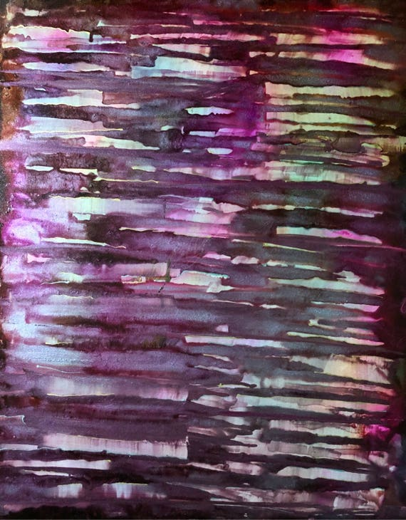 """Original Alcohol Ink Abstract Painting: """"Shattered Amethyst"""" (11"""" X 14"""")"""