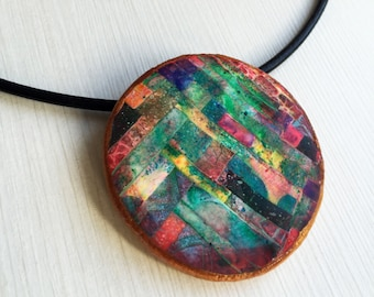 Colorful necklace, polymer clay necklace, handmade necklace
