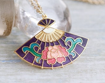 Colorful Fan Necklace - Miniature Art Nouveau pendant on Chain - Purple Enamels