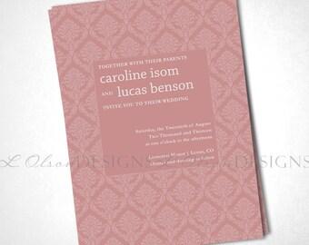 Damask Simplicity Wedding Invitation - Salmon - DIY Printable