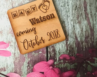 50 Personalized ABC Block Baby Announcement Magnets