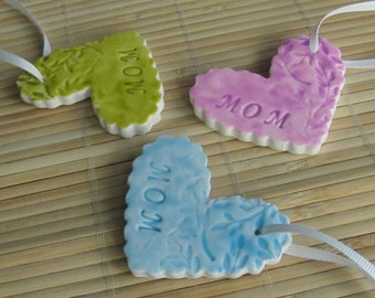 Mother's Day Floral Heart Ornament - Polymer Decoration for Mom - Faux Ceramic Ready to Ship