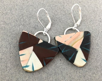 Clay dangle earrings natural colors in polymer clay color block art jewelry