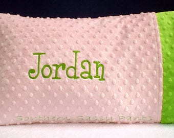 Personalized Pillow -Toddler Pillow Case - Pillow Case, for Girl, for Boy, Minky Pillows - Pillow Cover - Any Colors , Includes 12x16 Pillow