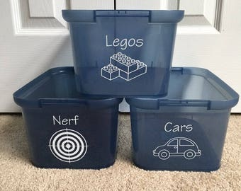 Toy Bin Decals - PLASTIC BINS - Cars/Puzzles/Characters/Dolls/Play Food - Customize Your Own!