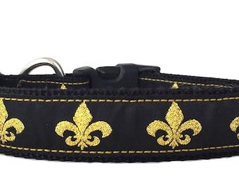 Gold and Black Fleur De Lis Ribbon Dog Collar