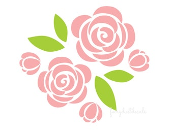 Rose wall decals, nursery room decals, flower wall sticker, vinyl wall decal, rose, rose wall decal, rose vinyl sticker, flower wall art