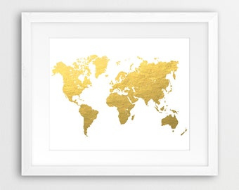 World Map Printable Art, World Map Silhouette Gold Foil Texture, Gold World Map Print, Modern Wall Art, Home Office Decor, DIY Digital Print