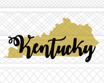 Kentucky State Outline and Script Name SVG|PNG|STUDIO3 Cut Files for Silhouette Cameo/Portrait & Cricut Explore/Maker DIY Craft Cutters