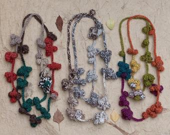 Long crochet necklace, fiber statement jewelry, multicolor, OOAK