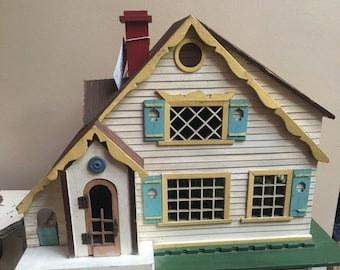 35% OFF SALE Darling handmade antique doll house with sliding front 1920 1930 folk art collectible