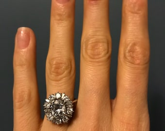 Vintage Art Deco 18K White Gold 2 Ct Moissanite and Diamond Halo Engagement Ring with Appraisal Cert - Size 6.75