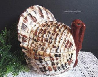 Vintage Ceramic Turkey Cookie Jar, Storage Jar, Vintage Ceramic Pottery