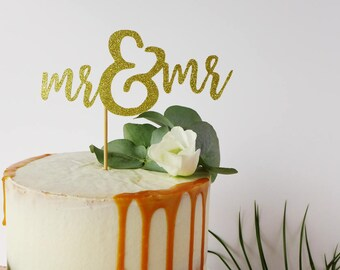 Mr & Mr / Gay Wedding Cake Topper / Two Grooms / Gold Wedding Decor / Calligraphy Cake Topper / Luxury Cake Decoration / Mr and Mr