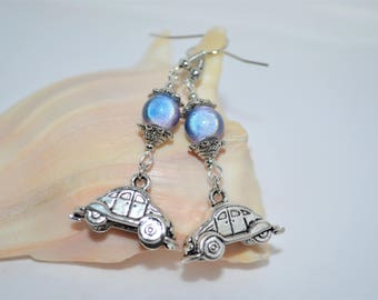 Earrings VW Beetle, VW Bug Earrings Blue Beaded Volkswagen Earrings, Volkswagen Bug Earrings, Silver & Blue Volkswagen Beetle Earrings