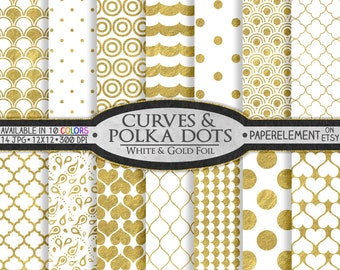 12 x 12 White and Gold Digital Scrapbook Paper: White and Gold Scrapbook Paper, Digital Polka Dot Background, Gold and White Polka Dot Paper