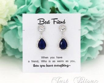 Wedding Earrings Navy Blue Zirconia Earrings Wedding Jewelry Bridal Earrings Something blue Bridesmaid Gift Wedding Jewelry CZ Earrings