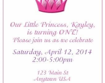 Digital Birthday invite-Crown/princess