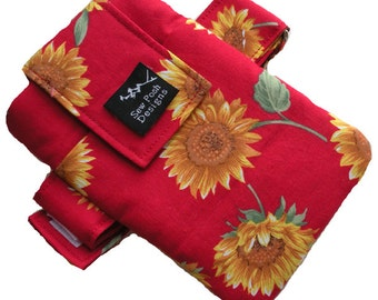 Sunflowers Red Yellow Orange Green Tropical Fabric Washable Iphone Galaxy Armband Cell Phone Case Pouch Zipper Pocket Waterproof Lining