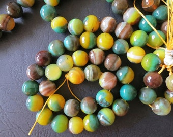 Yellow Green Agate 12mm Round Faceted ball Beads-- 33pcs/Strand