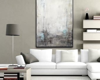 Framed Painting Large Abstract Art Original Painting Modern Contemporary Art Gray Blue Abstract Oil Painting Urban Grunge by Sky Whitman