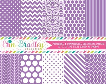 80% OFF SALE Light Purple Digital Paper Pack Polka Dots Damask Chevron and Striped Background Patterns Digital Scrapbooking