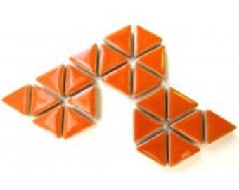50 15mm Popsicle Tangerine Orange Glazed Ceramic Triangle Mosaic Tiles//Mosaic Pieces//Mosaic Supplies//Crafts
