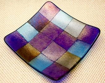Fused Glass Iridescent Decorative Dish