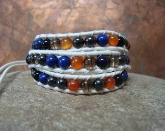Headache, Pain, Arthritis, Migraine vegan wrap bracelet (arthritis-friendly stretch) gemstone healing chakras Lapis Smoky Quartz Hematite