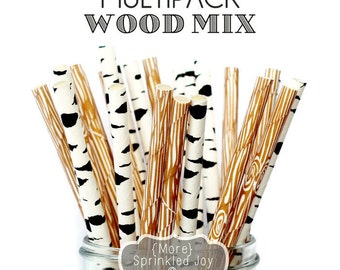 WOOD MIX Paper Straws, Party Decor, Cake Pops, Wood Straws, Lumberjack Party, Woodland Theme, Birch, Birthday Baby Shower, Wedding, Baby