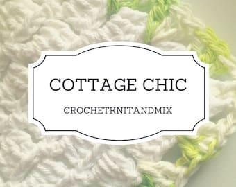 Washcloth, Set of 3 washcloths, White Green Crochet Cottage Chic Vintage style Towels, Bath Kitchen dish cloth Multipurpose towel