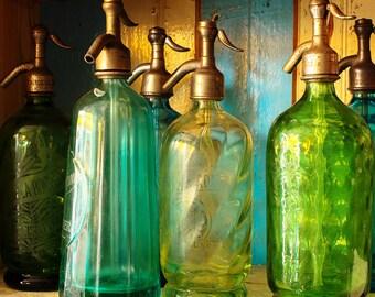 Paris Photography, Vintage Seltzer Glass, Emerald Green, Jade Green,  Green Wall Art, Pistachio, Paris Flea Market Finds,Paris Kitchen art