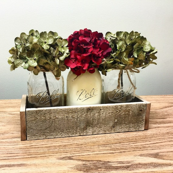 Mason Jar Christmas Decorations: Items Similar To Classy Christmas Centerpiece, Rustic