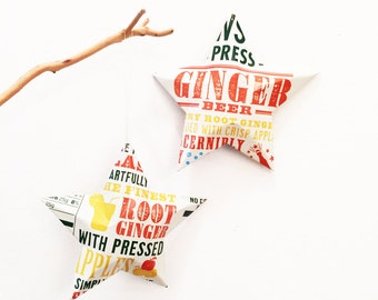 Cawston Press Ginger Beer with Apples or Rhubarb with Apple Stars Christmas Ornaments  Aluminum Can Upcycled