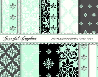 Scrapbook Paper Pack Digital Scrapbooking Background Papers DAMASK 10  8.5 x 11 Mint Green Black White Gray French Fleur 1218gg