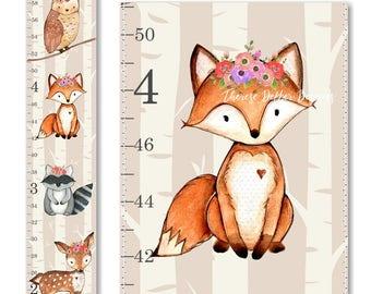 Woodland Growth Chart, Canvas Growth Chart, Deer Growth Chart, Floral Growth Chart, Woodland Decor, Height Chart