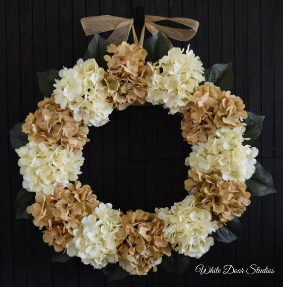 Cream and Beige Hydrangea Wreath