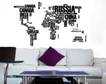 Map wall decal etsy map wall art world map decal world map mural map wall decal gumiabroncs Image collections