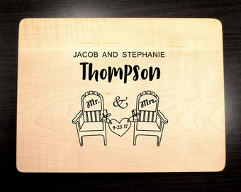 Custom Wedding Gift - Personalized Cutting Board - Engraved Wooden Cutting Board - Mr and Mrs - Gift for a Couple - Wood Butcher Block